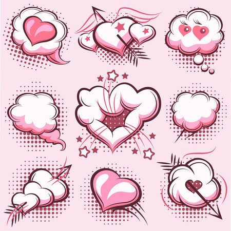 pierce: Comic elements for Valentines Day with explosions, hearts and arrows