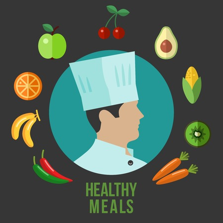 vigor: Healthy food cooking flat icons Illustration