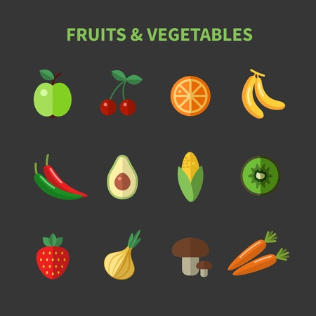 avocado: Fruits and vegetables flat icons Illustration