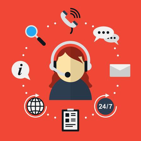 apoyo social: Atenci�n al cliente en icono de estilo plano