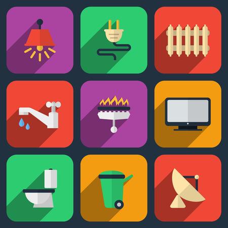 Utilities icons in flat style Stock Illustratie