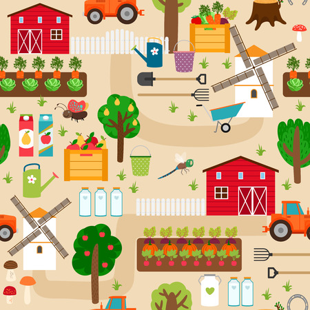 agriculture wallpaper: Farm seamless pattern with tractor and beds, apple trees, mill Illustration