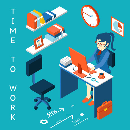 Time to work concept. Business corporate process infographic element Vector