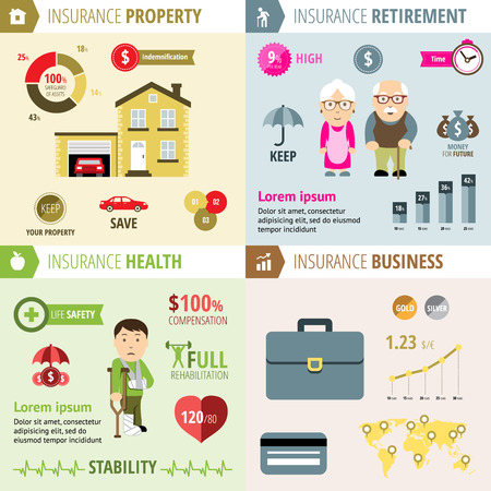 health insurance: Health and property, pension, business insurance Illustration