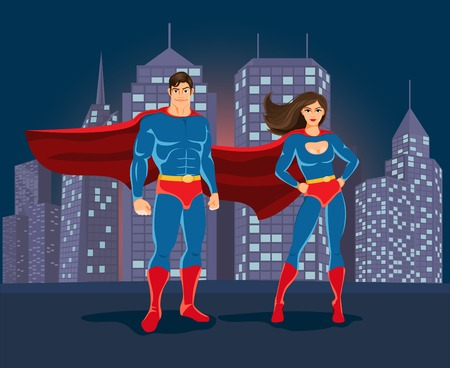superheroine: Superheroes on urban landscape backgound Illustration