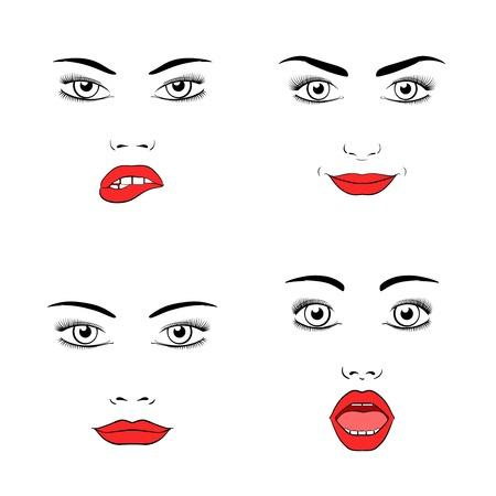 girl open mouth: Beautiful woman face silhouette
