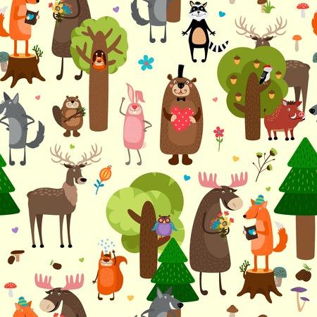 animales del bosque: Animales del bosque felices de fondo sin fisuras patr�n
