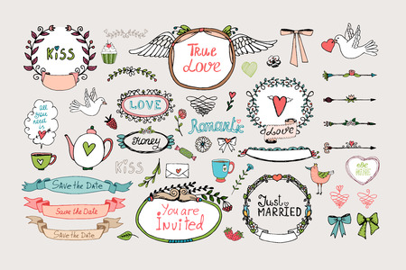 Romantic ornate frames, banners and ribbons Vector