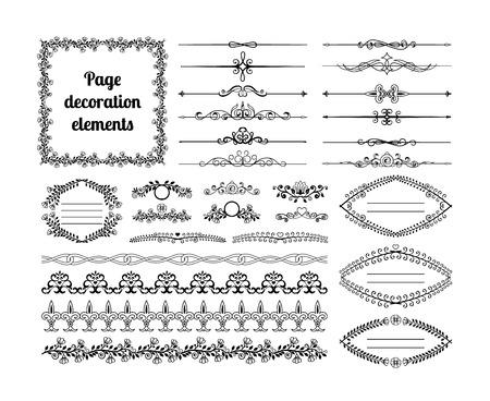 Elementos de diseño caligráfico para decoración de página. Divisores, viñetas, pergaminos, marcos y bordes Ilustración de vector