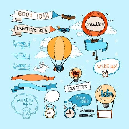 Idea hand-drawn elements. Bulbs, airplanes, balloons and alarm clocks