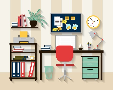 workstation: Workplace in cabinet room interior Illustration