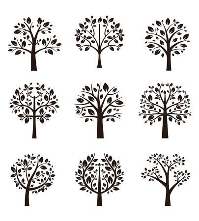 根と枝の木のシルエット  イラスト・ベクター素材
