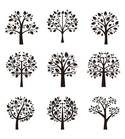 trunks: Tree silhouette with roots and branches Illustration