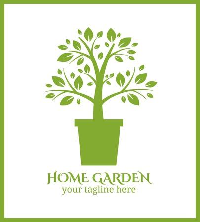 haus garten: Home garden Etikett, Baum im Topf logo