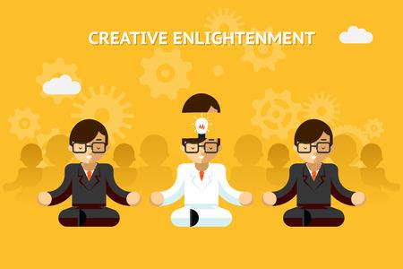 enlightenment: Creative enlightenment. Business guru creative idea concept Illustration
