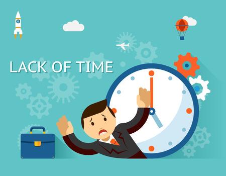 시간 관리. 시간 개념의 부족. 사업가 및 시계