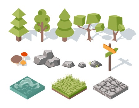 arboles de caricatura: Los elementos planos de la naturaleza. �rboles, arbustos, rocas, agua, hierba y setas Vectores