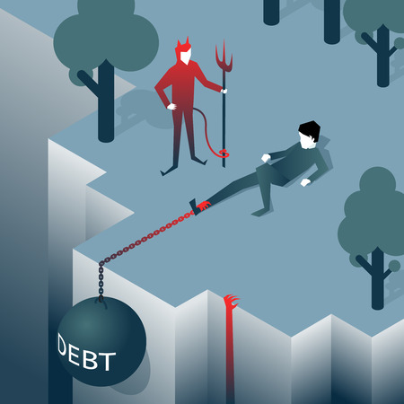 prisoner of the money: Debt takes off man over a cliff Illustration