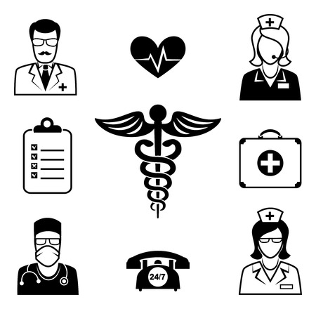 asclepius: Medical and Health care icons Illustration
