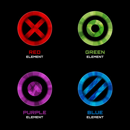 circumference: Circle, cross and dot logo design elements Illustration