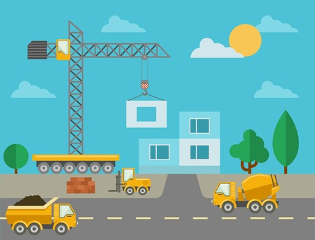 building material: Construction process with construction machines and erected building