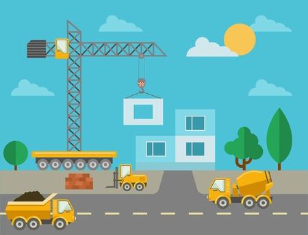 edificio industrial: Proceso de construcci�n con m�quinas de construcci�n y edificio construido