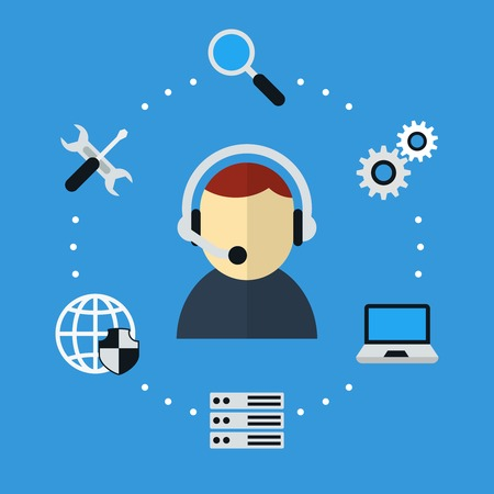 Computer and Technical Support Icon Vector