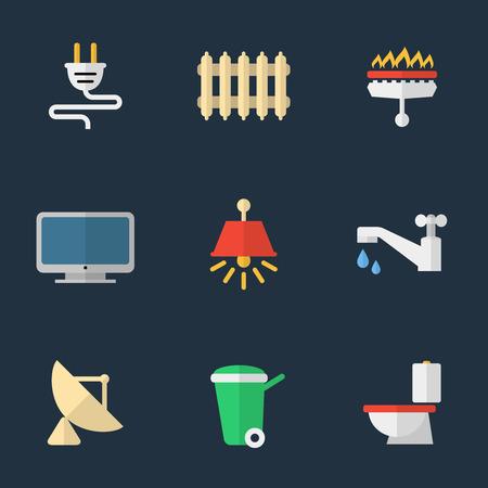 utilities: Electricidad, calefacci�n, agua y otros servicios Vectores