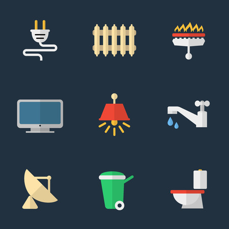 Electricity, heating, water and other utilities Vector