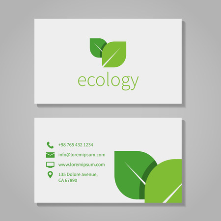 poster business: Ecological or eco energy company business card template with green leaves Illustration