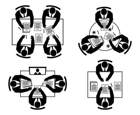 negotiations: Entrevista de trabajo, negociaciones comerciales, reuniones en l�nea y trabajo en equipo siluetas iconos Vectores