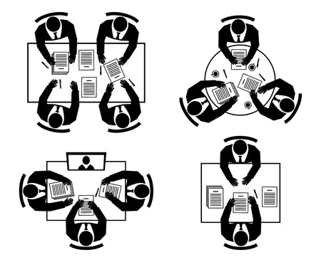 round table: Job interview, Business negotiations, Online meeting and Teamwork silhouettes icons