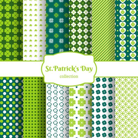St Patricks day seamless patterns Vector