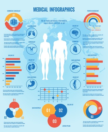 heart rate: Medical infographic. Man and woman Illustration