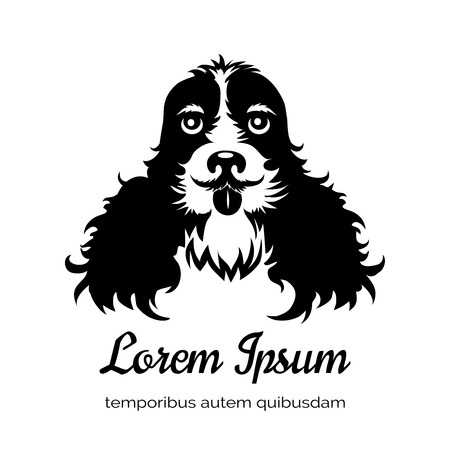 spaniel: English cocker spaniel black dog logo