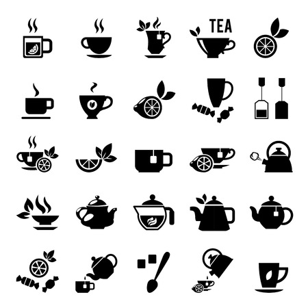 green tea leaf: Set of tea icons