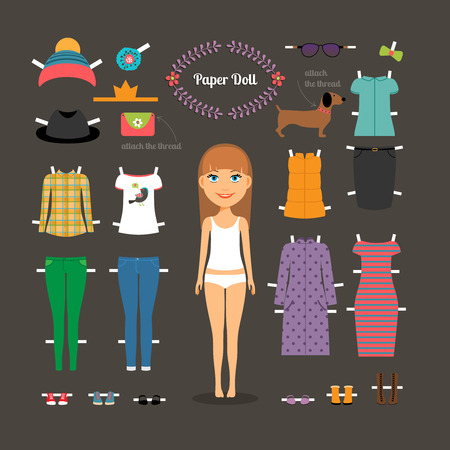 Dress up paper doll with big head