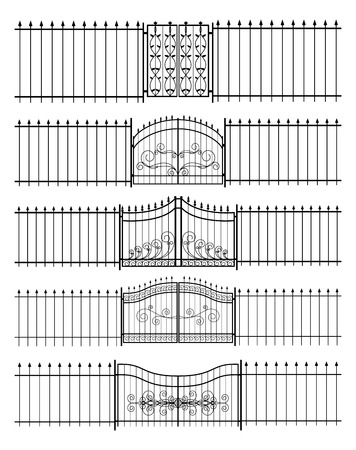 entrances: Gates and iron fence horizontal seamless