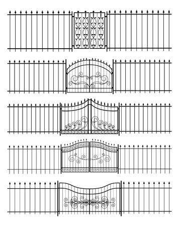 Gates und Eisen-Zaun horizontal nahtlose Illustration