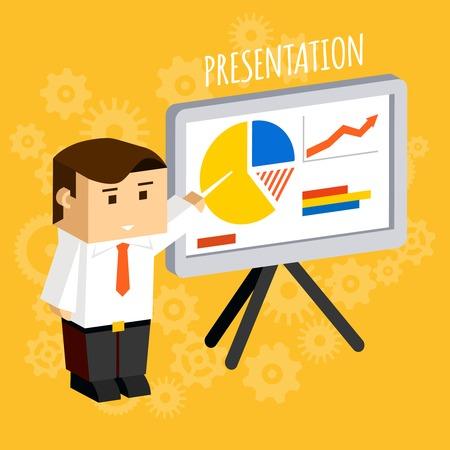 quarterly: Businessman pointing at presentation board