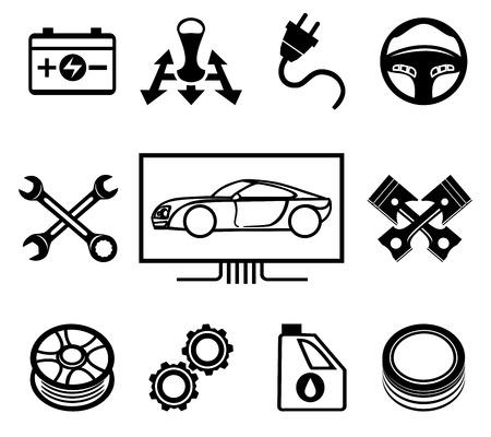 onderhoud auto: Auto-onderhoud of dienst pictogrammen