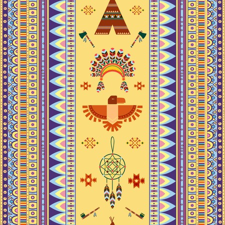 peace pipe: Vector vintage tribal ethnic seamless pattern for business