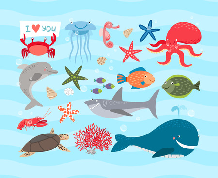 Vector cute sea animals. Dolphin and whale, octopus, turtle