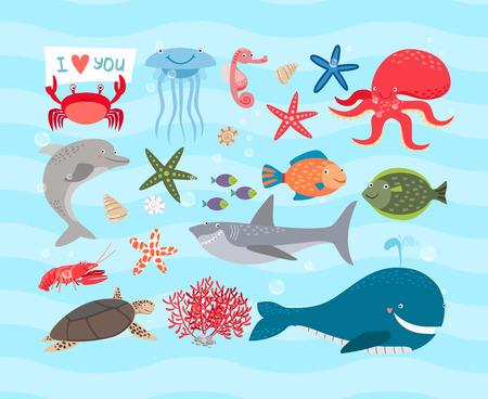 Vector mer mignon animaux. Dolphin et la baleine, le poulpe, tortue