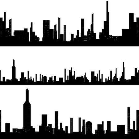 midtown: Black silhouette seamless cityscape Illustration