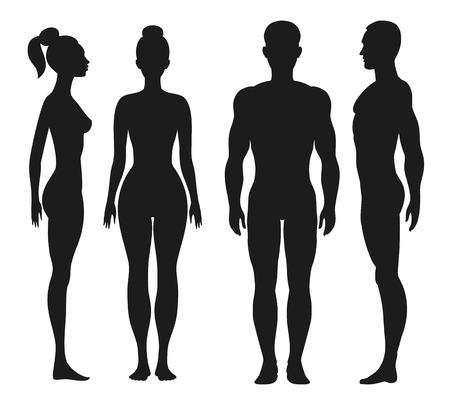 남자, 여자의 전면 및 측면보기 실루엣