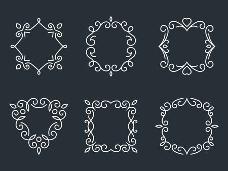 Outline monogram frames Vector