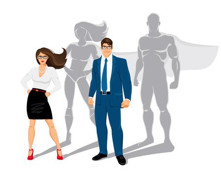 mujer trabajadora: Superhéroes oficina del hombre de negocios y mujer de negocios