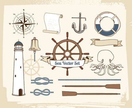 Vintage jeu de décoration nautique