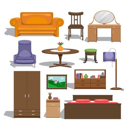 bedroom furniture: Furniture for bedroom Illustration